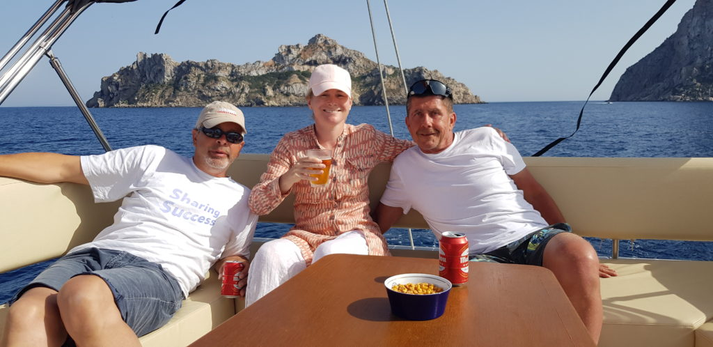 Enjoining our Fly while motoring along Ibiza