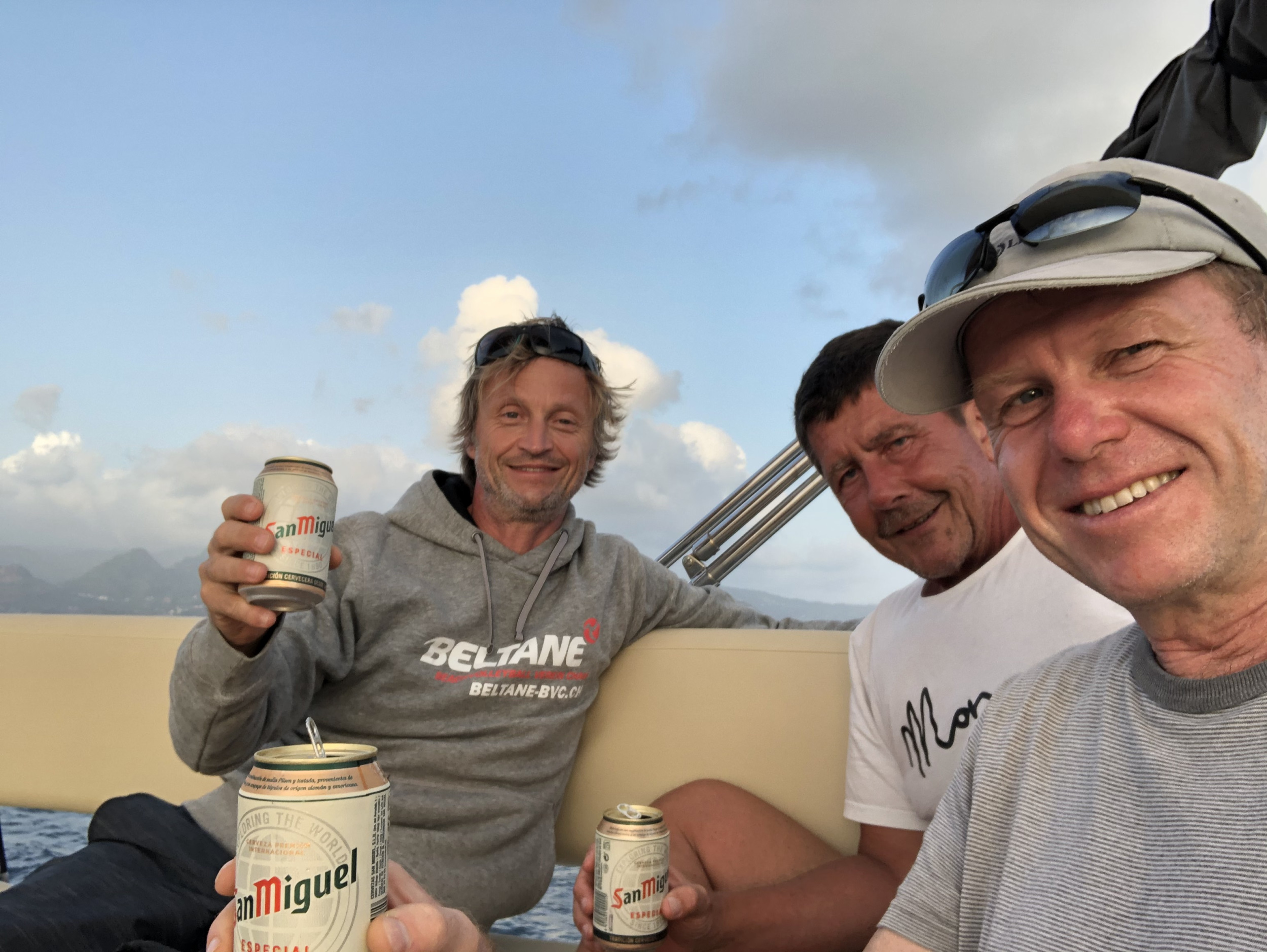 Cheers on our flybridge