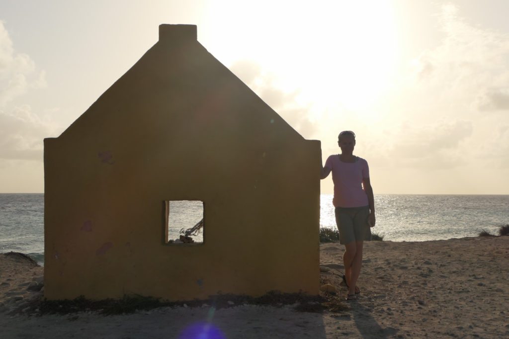 Nora and the slave houses in Bonaire