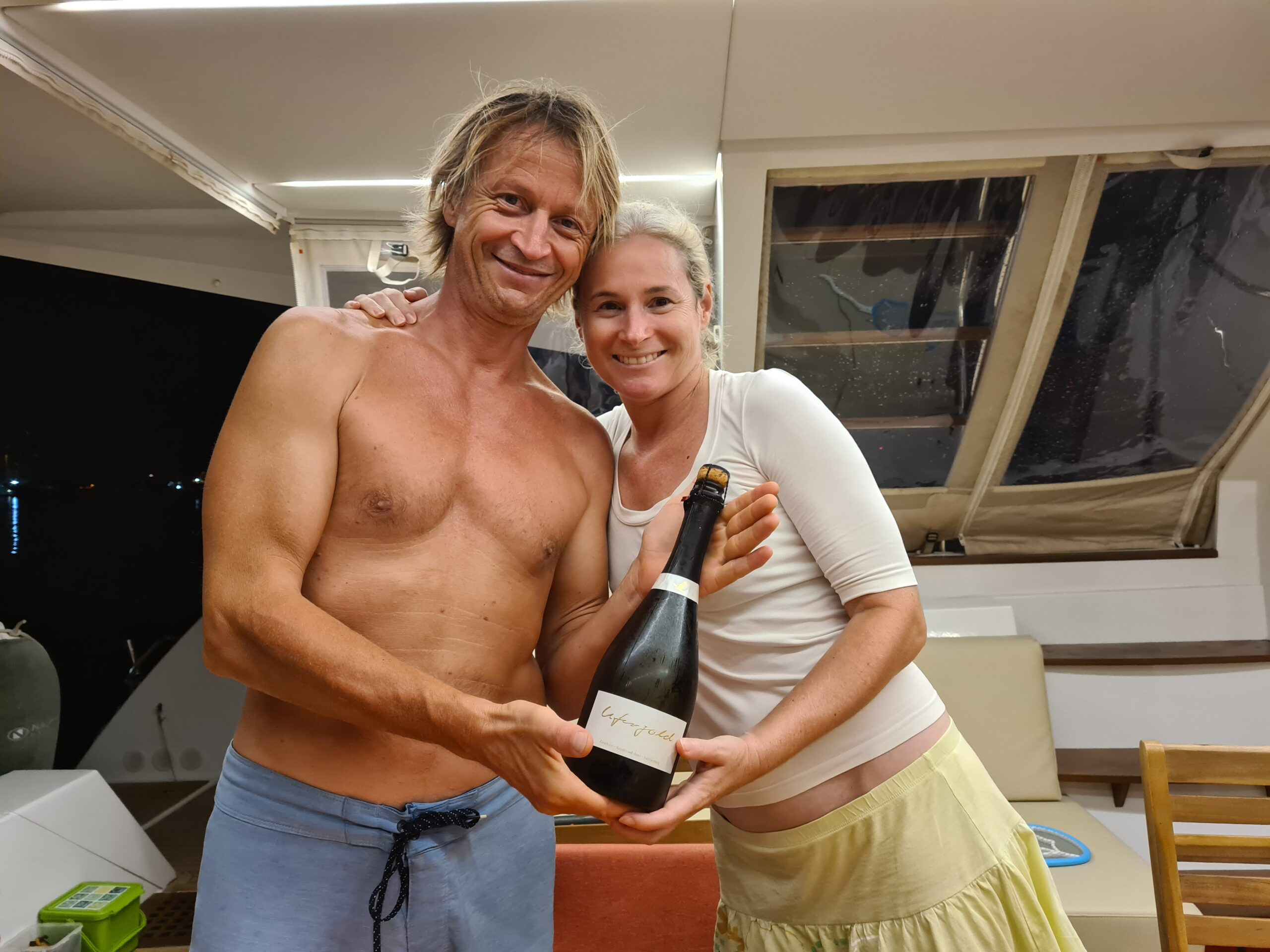 Celebrate beeing visited on board of Barbarella with Champagne from Zurich