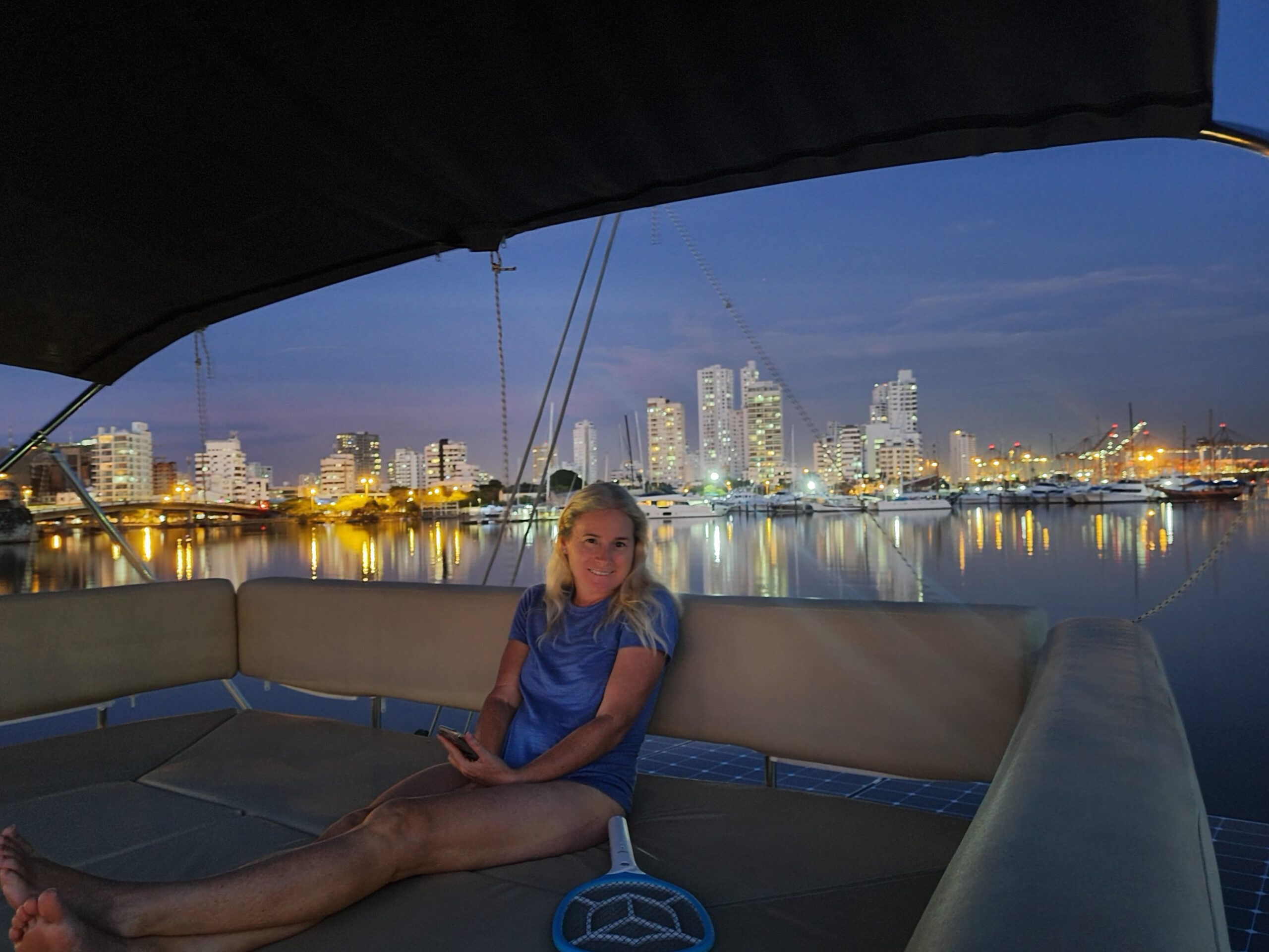 Enyoing the flybridge at night with only 30 degrees celsius