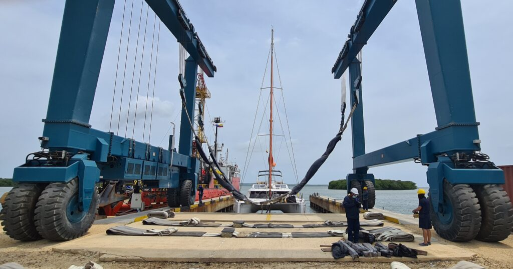 Shipyard worked overtime to get Barbarella out. And, us to Bogota