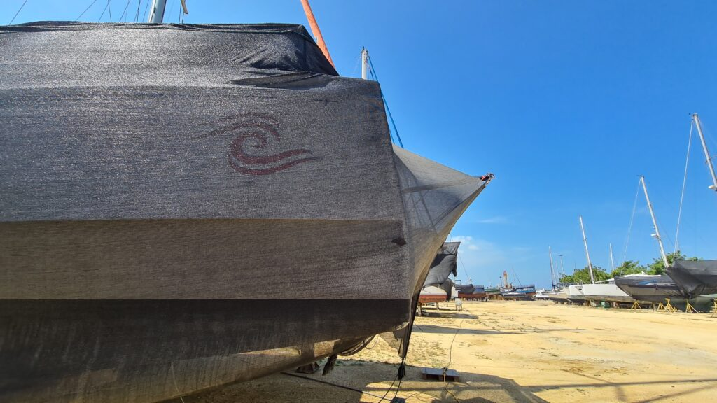 Barbarella wating in the heat and dust of the Cartagena shipyard